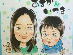 秋祭りでお描きした姉弟の似顔絵