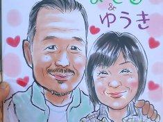 秋祭りでお描きしたご夫婦の似顔絵