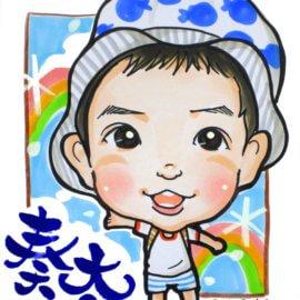 女性の似顔絵師が描いた、子どもの可愛い似顔絵