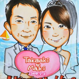 アニメ過ぎない特徴を捉えた可愛いタッチで描かれた結婚式用のウェルカムボード