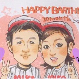アニメ風のタッチで描かれたカップルの似顔絵