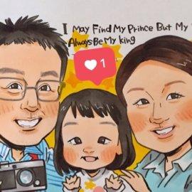 しっかりと特徴を捉えて描かれた3人家族の似顔絵