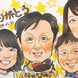 アニメ風の可愛いタッチで描かれた3世代のご家族の似顔絵